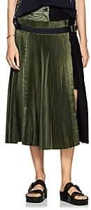 Sacai Women's Colorblocked Satin & Wool-Blend Midi-Skirt-Navy