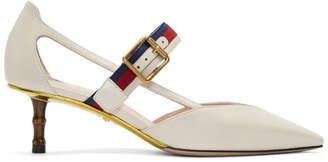 Gucci Ivory Unia Bamboo Heels
