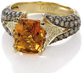 LeVian CORP Grand Sample Sale by Le Vian Cinnamon Citrine and Chocolate & Vanilla Diamonds Ring in 14k Honey Gold