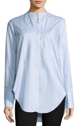 Helmut Lang Oxford Stripe Tuxedo Shirt, Medium Blue $345 thestylecure.com