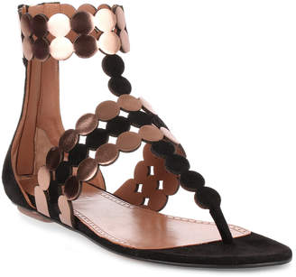 Alaia Black suede and metallic leather sandal