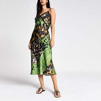 River Island Green printed lace trim maxi slip dress