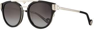 Karlsson Anna Karin Paws Love Round Flat-Top Sunglasses, Black/Silver