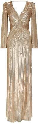 Jenny Packham Silvie Long Sleeve Sequin Gown