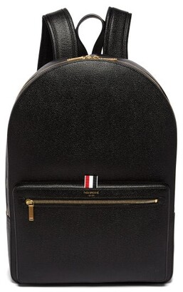 Thom Browne - Logo Stamped Structured Pebbled Leather Backpack - Mens - Black