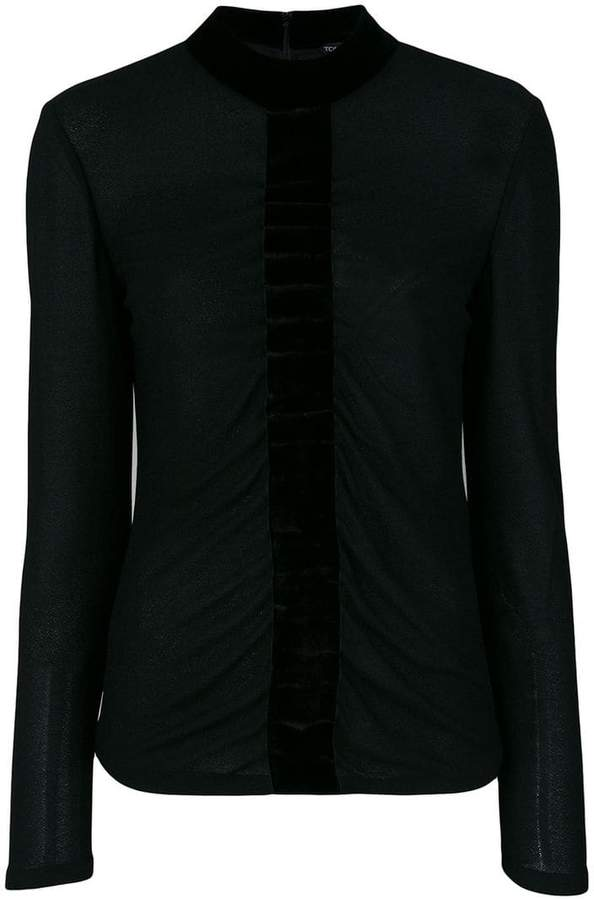 Tom Ford velvet trim blouse