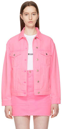 MSGM Pink Oversized Embroidered Denim Jacket