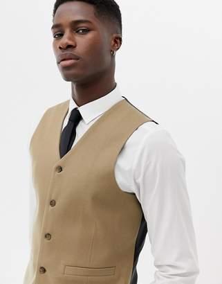 Asos DESIGN skinny suit vest in camel micro texture