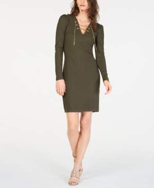 Michael Kors Michael Ribbed Lace-Up Sweater Dress, In Regular & Petite Sizes