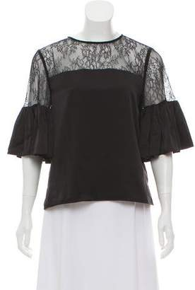 CAMI NYC Lace-Paneled Silk Blouse