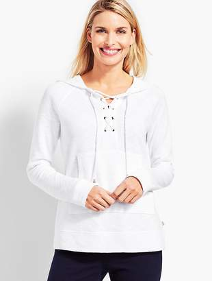 Talbots Lace-Front Double-Knit Hooded Pullover