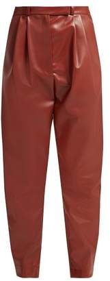 Awake Pleat Front Faux Leather Trousers - Womens - Burgundy