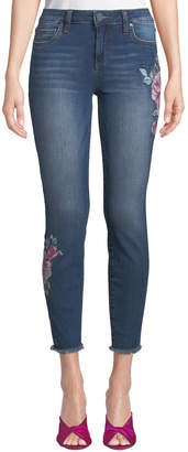 KUT from the Kloth Connie Floral-Embroidered Ankle Skinny Jeans w/ Fray Hem