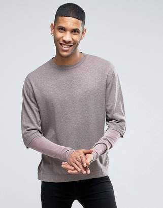 Asos Cotton Sweater with Double Layer Sleeve