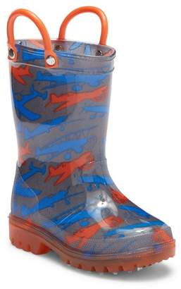 LILLY OF NEW YORK Airplane Light-Up Waterproof Rain Boot (Toddler & Little Kid)