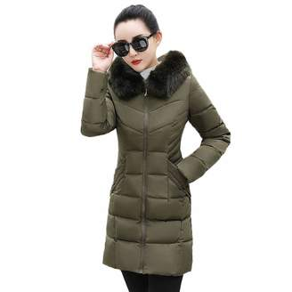 Pervobs Women Parkas&Down Jacket Pervobs Clearance Sale! Women Winter Warm Down Jackets Parka Hooded Thick Parka Elegant Slim Long Coat Jacket Overcoat