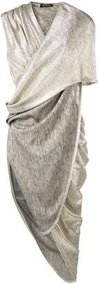 Balmain draped laminated dress