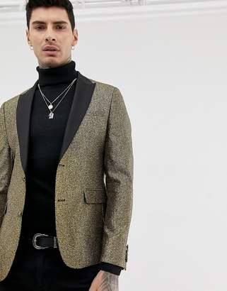 Asos Design DESIGN skinny blazer in gold glitter with black satin lapel