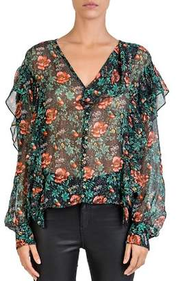 The Kooples Silk Floral-Print Ruffle-Trim Blouse