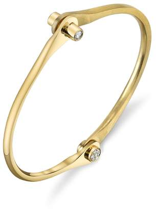 Borgioni Diamond Knob Skinny Handcuff Bracelet - Yellow Gold