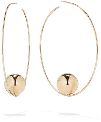 Lana 14k Gold Bead Hoop Earrings, 60mm