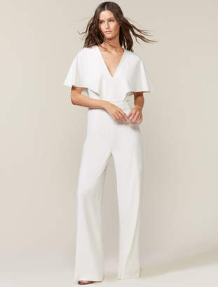 Halston Flowy Cape Sleeve V Neck Wide Leg Jumpsuit