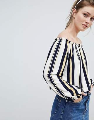 Bershka Bardot Top In Multi Stripe Print