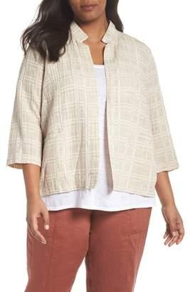 Eileen Fisher Check Organic Cotton & Linen Jacket