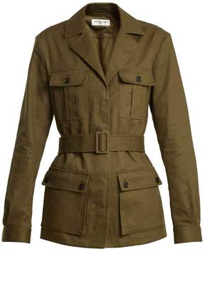Belted cotton-blend jacket