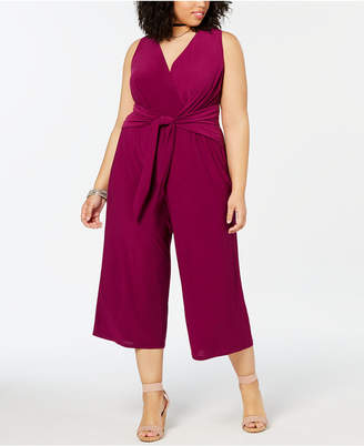 Love Squared Plus Size Tie-Front Wide-Leg Jumpsuit