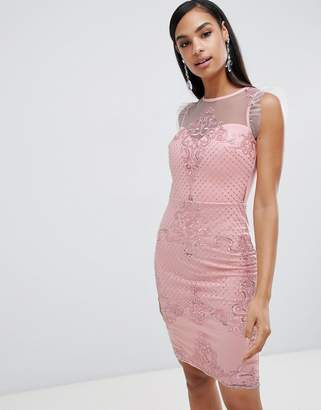 Lipsy lace pencil dress with mesh embroidery