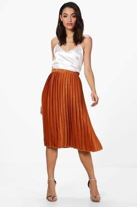 boohoo Premium Aura Satin Pleated Midi Skirt