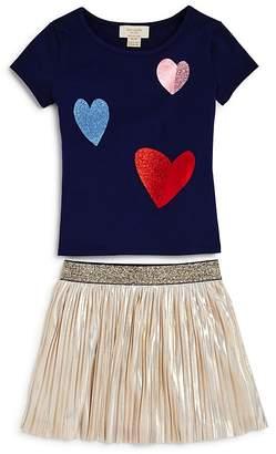 Kate Spade Girls' Glitter Foil Heart Tee & Metallic Skirt Set - Little Kid