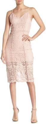 J.o.a. Crochet Lace Bodycon Midi Dress