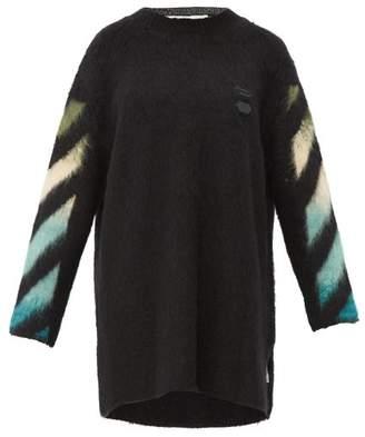 Off-White Off White Logo Intarsia Wool Blend Sweater Dress - Womens - Black Multi