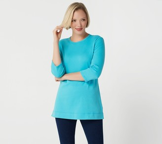 Denim & Co. Essentials Petite Interlock Crew-Neck Tunic