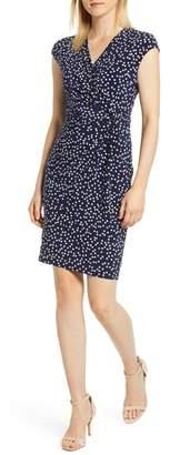 Anne Klein Dot Print Side Twist Dress