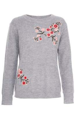 Quiz Grey Floral Embroidered Knit Jumper