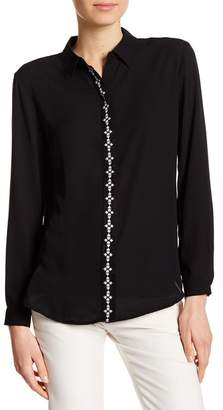 Catherine Malandrino Contrast Trim Long Sleeve Blouse