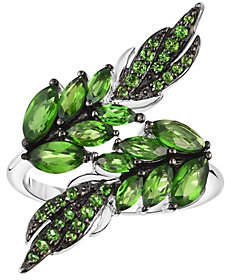 QVC Sterling 3.25 cttw Chrome Diopside Leaf Ring