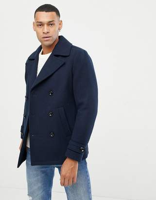 Jack and Jones Originals navy peacoat