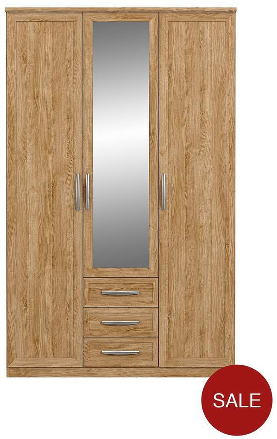 Oslo 3-Door, 3-Drawer Mirrored Wardrobe