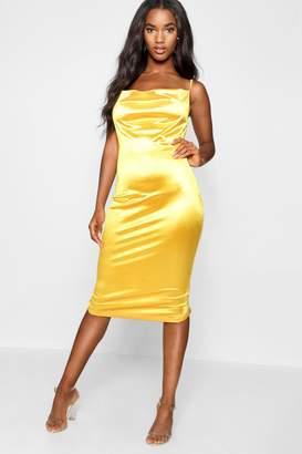 boohoo Satin Cowl Neck Midi Dress