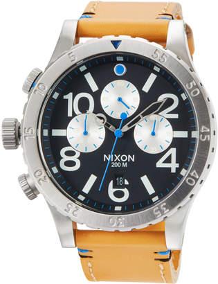 Nixon 48-20 Chrono Leather Watch, Black/Brown