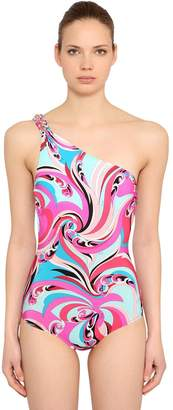 Emilio Pucci Printed Lycra One Shoulder Swimsuit