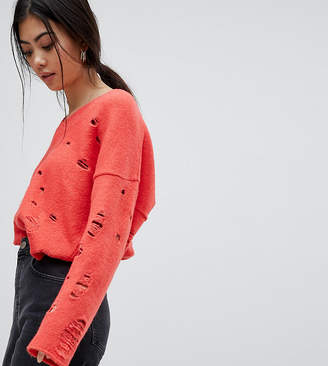 Asos Jumper with V-Neck and Rolled Edges