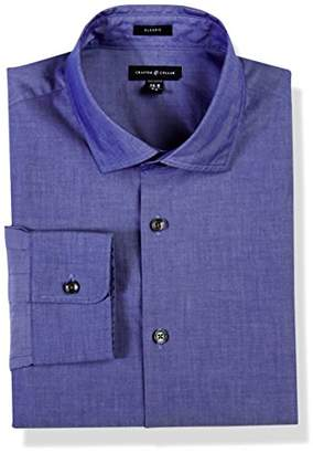 Crafted Collar Men's Classic Fit Solid Spread Colalr Dress Shirt Easy Care