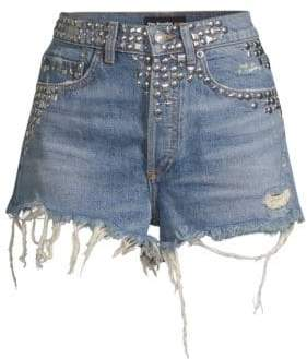The Kooples Studded Distressed Denim Cutoffs