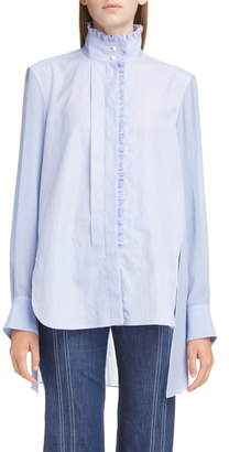 Chloé Ruffle Trim High/Low Poplin Shirt