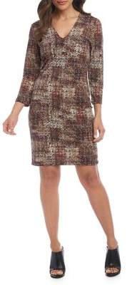 Karen Kane Abstract-Print Sheath Dress